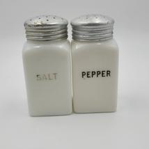 VINTAGE WHITE MILKGLASS HOOSIER SALT AND PEPPER SHAKERS  2pc set - $85.00
