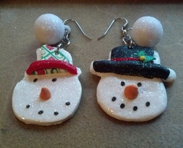 Christmas Earrings Winter Snowman and Snowoman Clay Earrings Hand Made I... - $19.99