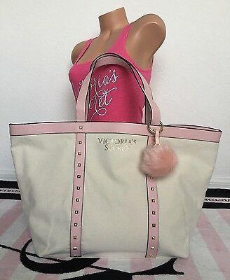 Victoria's Secret Beige Pink Gold Canvas Studded Tote Bag & Pom Pom Keychain Set
