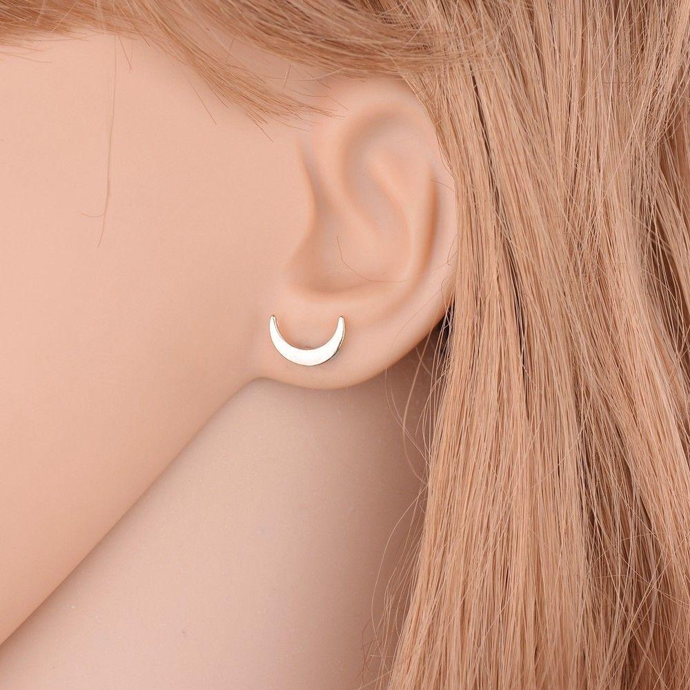 Cute Stud New Romantic Small Gold/Silver/Black Star Moon Lovely Heart Shape
