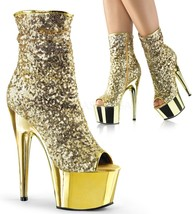 Pleaser Adore 1008SQ Gold Sequins Peep-Toe 7 inch Stiletto Ankle Boots - $1.869,42 MXN