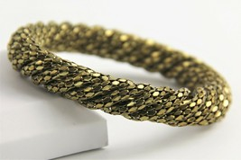 "7"" VINTAGE Jewelry 70s CHUNKY FUNKY DISCO GOLD METAL TWIST MESH BANGLE B... - $25.00"