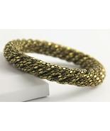 "7"" VINTAGE Jewelry 70s CHUNKY FUNKY DISCO GOLD METAL TWIST MESH BANGLE B... - $25.00"