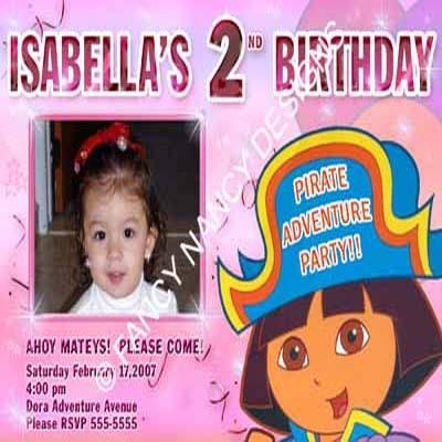 Dora The Explorer Go Diego Go Girls Pirate Beach Photo Birthday Party Invitation