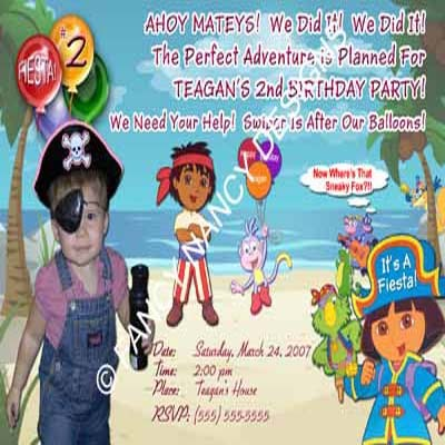 Primary image for Dora The Explorer Go Diego Go Girls Pirate Beach Photo Birthday Party Invitation