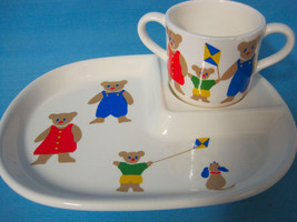 Children's Plate & 2 Handle Cup Porcelain Set Teddy-Bear Design Red Blue - $28.75