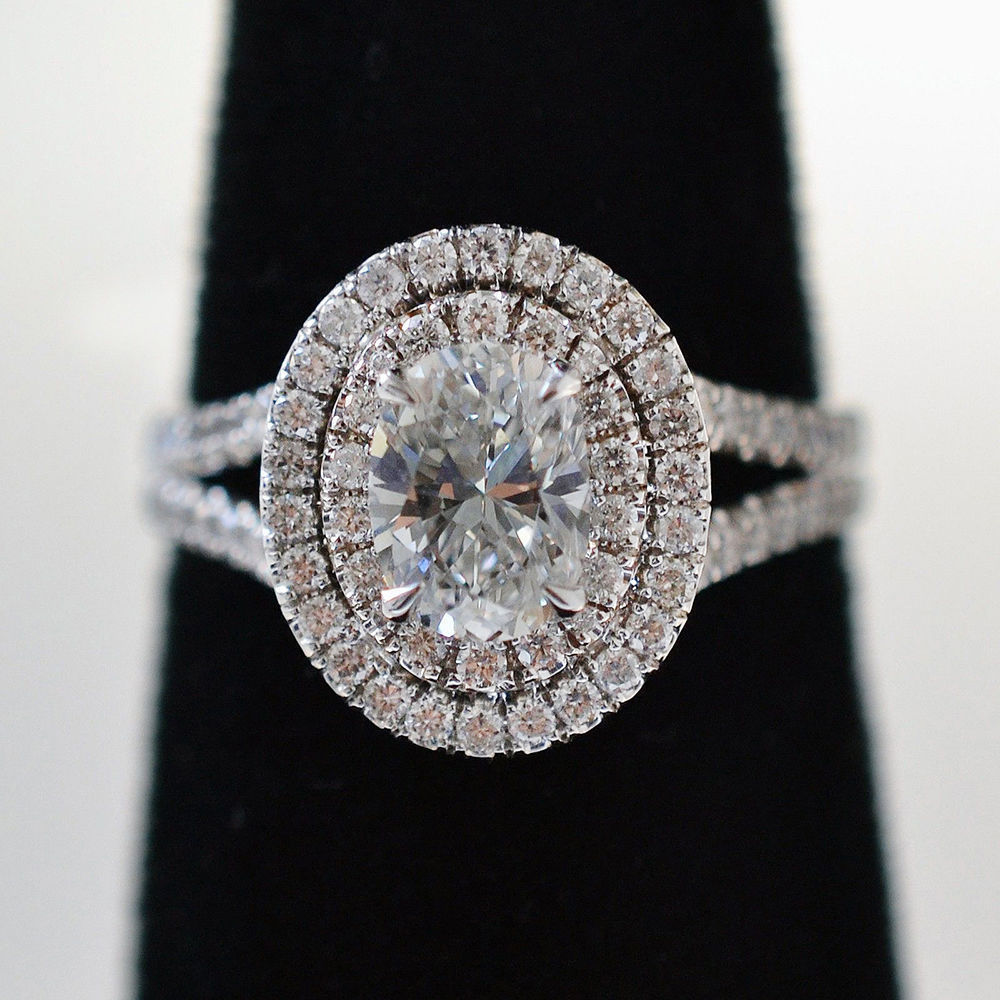 Certified 2.80Ct Oval Cut Diamond Halo Engagement Ring in Solid 14K White Gold
