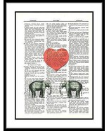 Baby Elephants Red Heart Fun Animals Dictionary Art Print Vintage Upcycl... - $10.99