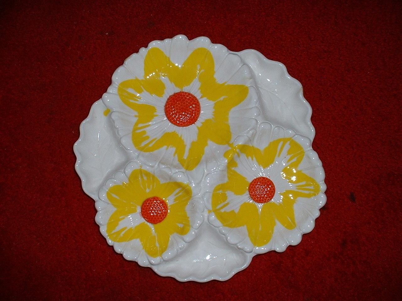 "LARGE 12"" SANTA ANITA WARE divided serving platter--multi flowers (R-38 -39)"