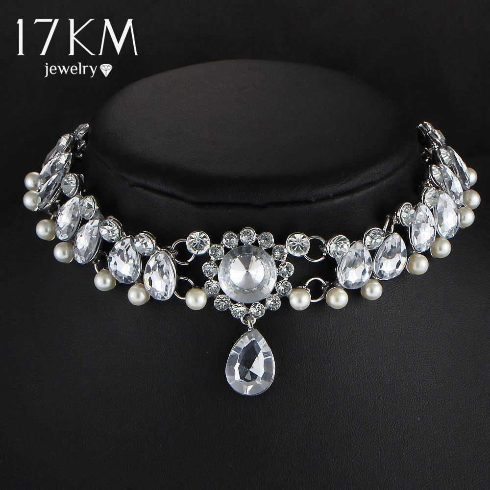 17KM® Boho Collar Choker Water Drop Crystal Beads Necklace & Pendant Vintage