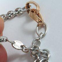 Bracelet White Gold Pink 18K 750, Circles, Ovals Wavy, Infinity, Italy Made image 3