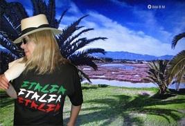 "Silk-Screened Serigraphic Beautiful ""ITALIA"" Black T-Shirt By Bila B M - $29.99"