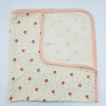 First Impressions Baby Blanket Girl Floral Polka Dot Peach Cream Cotton B74 - $14.99
