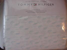 Tommy Hilfiger Aqua Swordfish Marlins Fish on White Sheet Set Queen - $67.00