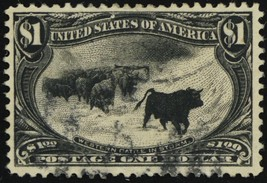 292, Used $1 VF/XF Well Centered Cattle in Storm Stamp GEM - Stuart Katz - $750.00