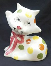 Vintage Cat Kitty White w/ Polka Dots Ceramic Piggy Coin Bank Italy - $14.50