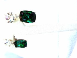 Napier Vintage Drop Earrings Green and Clear Rhinestones - $20.39