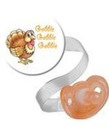 Gobble, Gobble Thanksgiving Button and Pacifier Clip - $11.00
