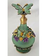 Vintage Glass Perfume Bottle w/ stopper & dauber 5 ml metal base & top 3... - $18.99