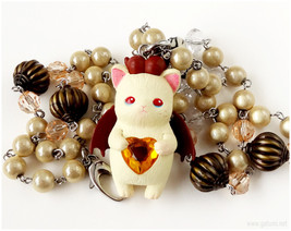 Devil Cat Necklace, Cat Figure Necklace, Cream, Brown, Stainless Steel, ... - $41.00