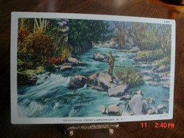 1940s Linen Postcard Stream Fly Fishing Linen Unused Larchmont NY New York - $6.50