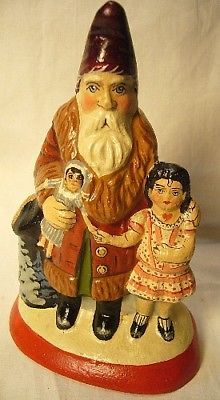 Vaillancourt Folk Art Santa with Good Girl  NEW Personally signed
