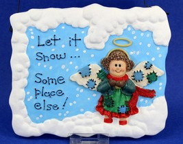Let It Snow....Someplace Else Angel Plaque, Vintage in Box, 1998, House ... - $11.87