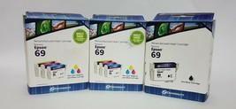 Epson 69 Remanufactured Inkjet Cartridges  1 Black + 2 Multi Pack(Color) - $18.70