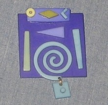 Purple and Blue Handcrafted Brooch Pin - Swirls and Dangles - $27.00