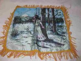 "Neat Vintage 17"" X 17"" Silk Painted Souvenir Pillow Silver Moon Two Harb... - $144.02"
