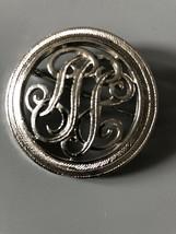 Vintage Silvertone Signed Coro Pegasus Circular Brooch - $7.91