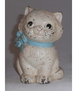 Cast Iron Hubley 820 Still Penny Bank Kitty Cat Blue Bow Collar Original... - $97.00