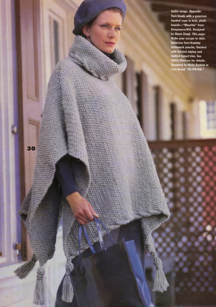 Vogue Knitting Cape Pattern : VOGUE KNITTING Fall 1998 Cables Ribs Quilt Motifs His & Hers Hooded Cape ...