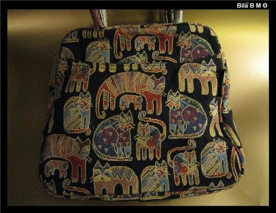 LAUREL BURCH Cat Tapestry TOTE Bag - Story Weavings - Free Shipping image 2