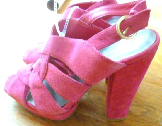 Primary image for Ladies Pink Suede Sandals Jessica Simpson High Heel - size 6 New