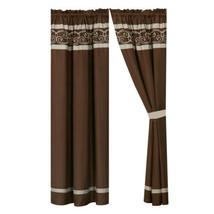 4P Freya Curtain Set Drape Sheer|Scroll Embroidery Stripe|Rod Pocket|Brown Taupe - $40.89