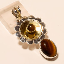 Natural Tiger Eye Matrix Gemstone 925 Sterling Silver Pendant Two Tone Jewelry A - $18.25