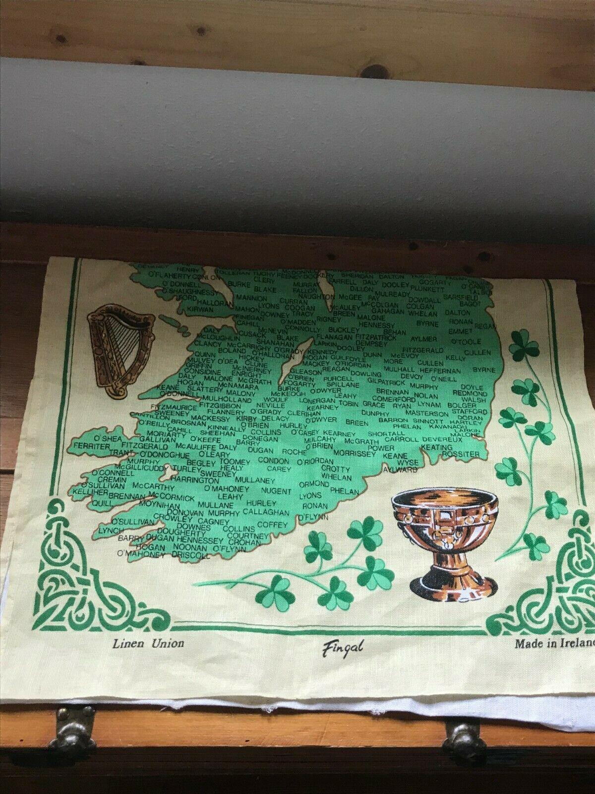 Gently Used Linen Union IRISH Families Yellow & Green Kitchen Towel Wall Hanging image 4