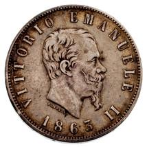 1863 Italy 2 Lire Silver Coin in VF Condition KM #16.1 - $74.25