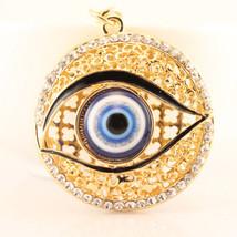 Evil Eye Fashion Keychain Rhinestone Crystal Charm Blue Round Eyes #MCK11 - $18.17