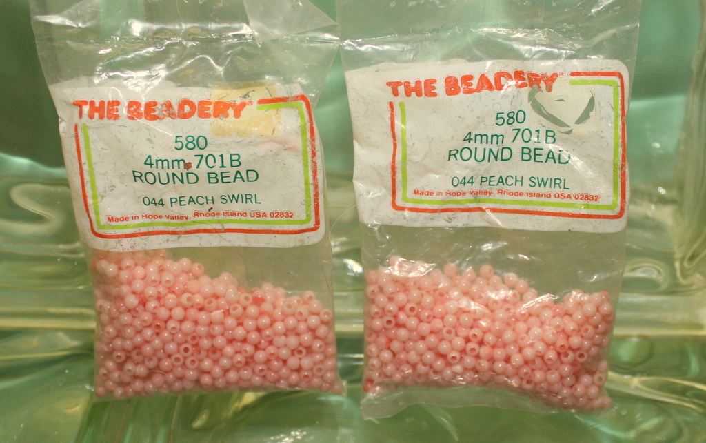 4mm ROUND BEADS THE BEADERY PLASTIC PEACH SWIRL 2 PACKAGES 1,160 COUNT