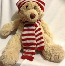 Aeropostale Plush Tan Teddy Bear Christmas red white hat Knit Scarf Stuf... - $12.19