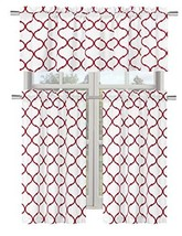 Regal Home Collections Shabby Trellis Kitchen Curtain Tier & Valance Set... - $23.81