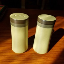 Vintage 1970s Made in Japan Green Brown Cylindrical Salt and Pepper Shak... - $14.50