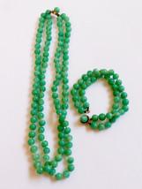 VTG 2-Strand Beaded Green Speckled Glass Necklace & bracelet set - $64.35