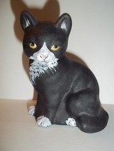 Fenton Glass Black & White Tuxedo Sitting Cat M Kibbe GSE Ltd Ed #15/39 - $174.12