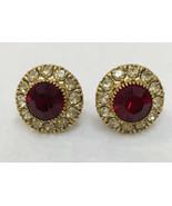 Screw Back Earrings Ruby Red Glass Stone w/ Rhinestones Gold Tone Metal ... - $11.87