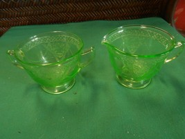 Beautiful Vintage Depression Glass...Green SUGAR & CREAMER Marked F in S... - $14.44