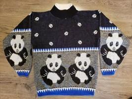 80s Throwback Panda Bear Sweater Paw Prints Blue Black Womens M Bears Cr... - $30.67