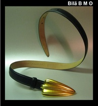 Vintage ROBERT LEE MORRIS Navy Blue Italian Calfskin Leather Belt - Medium - $85.00